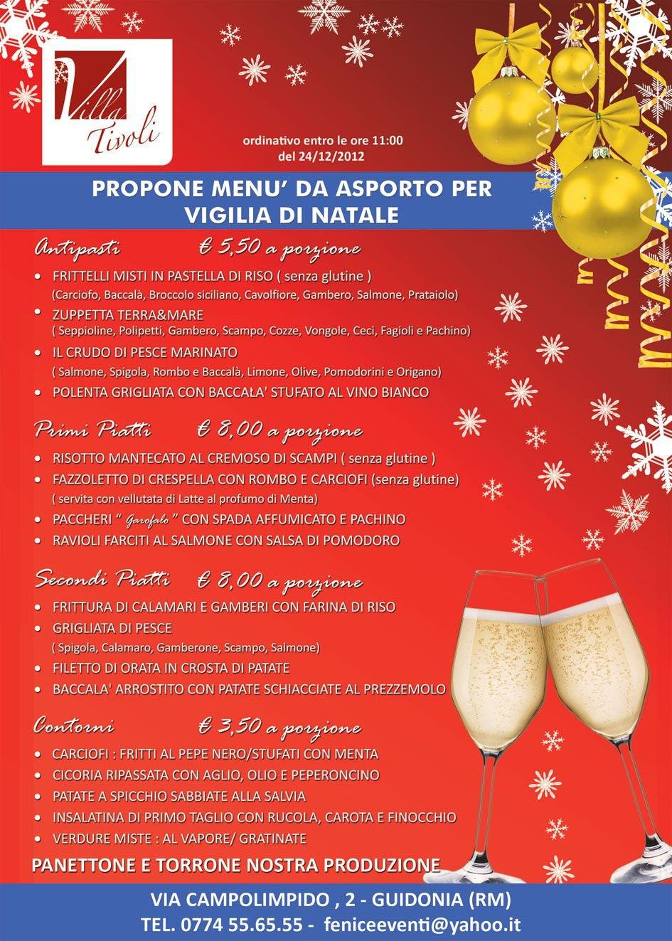 Menu X Vigilia Di Natale.Villa Tivoli Menu D Asporto Cenone Natale Villa Tivoli